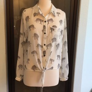 Forever 21 White Blouse with Black Leopards